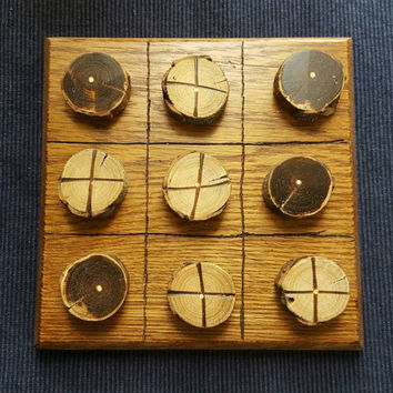 Wooden tic-tac-toe handmade game or Rustic home decor made by 10 year old, with percentage going to humane society