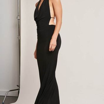 Draped Mock Neck Maxi Dress