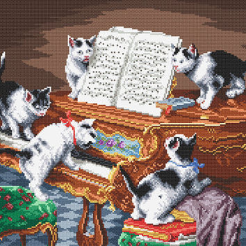 FREE SHIPPING Kitties at the piano picture to order ith frame,CATS,Animals,Anniversary,Wedding,Gift,frame