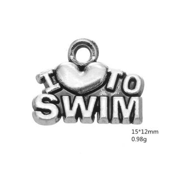 """Swimming Pool beach 3 style Newest Alloy """"I Love swimming"""" series Charms Dangle Hanging Charm DIY Jewelry Accessories Charms Jewelry 50pcs/lotSwimming Pool beach KO_14_1"""