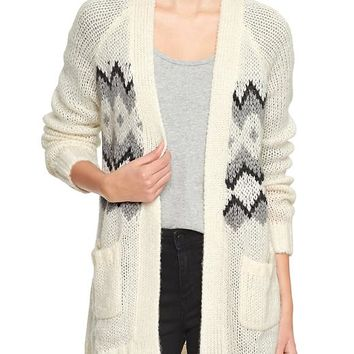 Gap Women Factory Fair Isle Open Front Cardigan