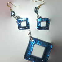 Neon Bright Blue Resin Square Donut Earrings and Pendant Set with Necklace Chain Silver and Gold Free Shipping