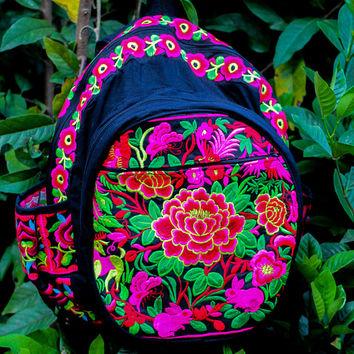 Backpack/Thai Hmong bag/Bags and Purses/Embroidered/Cotton bag/Thai shoulder bag/HMONG bag