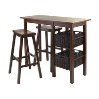 Egan 5 Piece Breakfast Table with 2 Baskets & 2 Saddle Seat Stools
