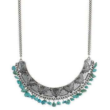 Embossed Bib Turquoise Chips Necklace