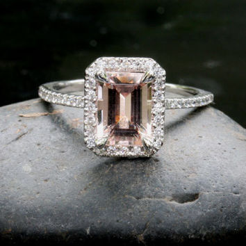 14k White Gold 8x6mm Morganite Emerald Cut and Diamonds Wedding or Engagement Ring (Choose color and size options at checkout)