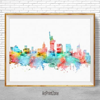 New York Print, New York Skyline, New York Poster, New York Art Print, City Skyline Prints, Office Wall Art, Office Poster, ArtPrintZone