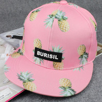 Pink Pineapple Print Baseball Cap Hat