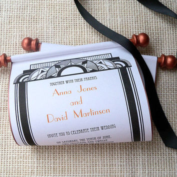 Art Deco Wedding Invitation, Paper Scroll Invitation, Copper and Black, minimalist wedding invitation, art nouveaux invitation