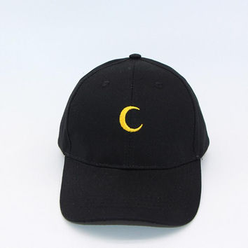 Black Moon Embroidered Baseball Cap Hat