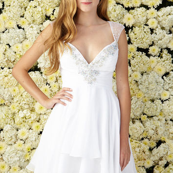 G2022 Cap Sleeve Chiffon Homecoming Cocktail Dress