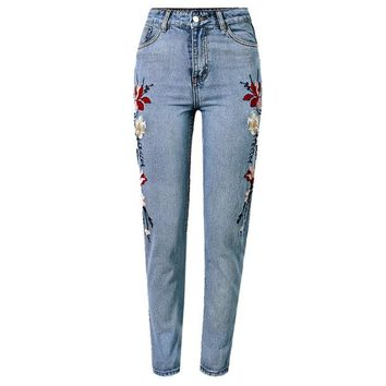 Women's super popular English embroidered flowers on both sides of tall waist multicolor washed straight nine minutes of pants