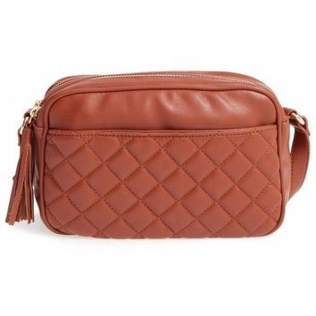 Quilted Camera Faux Leather Crossbody Cognac Bag