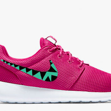 Womens Custom Nike Roshe Run sneakers, triangles, black, teal, tribal trendy design, fireberry red, pink powder color. Limited stock!