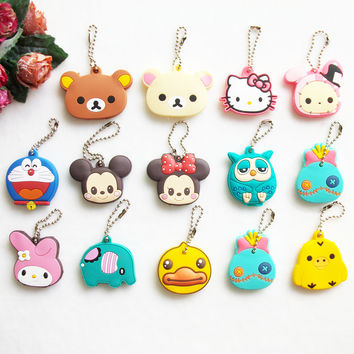 Cute Animal Cartoon Bear Mickey Hello Kitty Silicone Key Cover For Women Caps Key Chain Key Ring Key Holder Gifts
