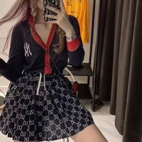 """New York Yankees"" Women Casual Fashion Knit Multicolor Stripe V-Neck Strap Vest Long Sleeve Cardigan Coat Set Two-Piece"