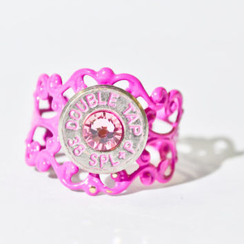 Bullet Ring - Pretty in Pink Filigree Bullet Ring
