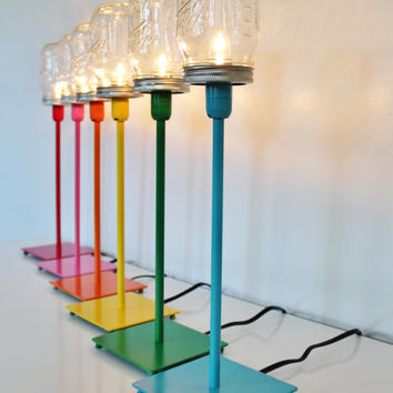 Mason Jar Lamp - Metal Table Top Lamp In Your Choice of Red, Pink, Orange, Yellow, Green, or Blue - Upcycled BootsNGus Lighting Fixture