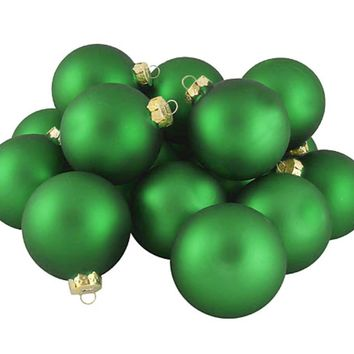 """Club Pack of 48 Matte Elf Suit Green Glass Ball Christmas Ornaments 2"""" (50mm)"""