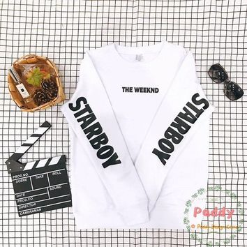 OKOUFEN Starboy The Weeknd sweatshirts Black Long Sleeve tumblr streetwear HIP HOP pullovers crewneck unisex fashion cool tops