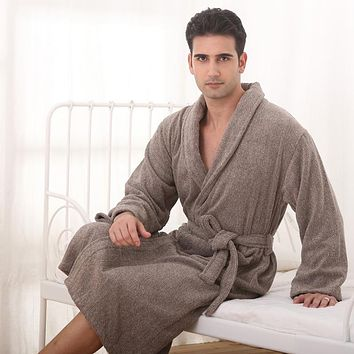 Cotton men bathrobe XXL nightgown blanket sleepwear boy towel bathrobe thickening lovers long super soft robe winter
