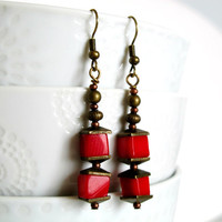 Red Lanterns - Red Coral Earrings - Copper - Spring Earrings - Summer Earrings