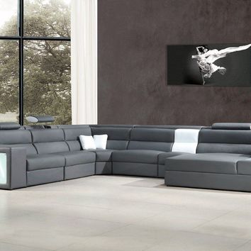 Divani Casa Polaris Contemporary Gray Leather Sectional Sofa