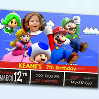 Super Mario Colorful nvitation personalized card as a digital file