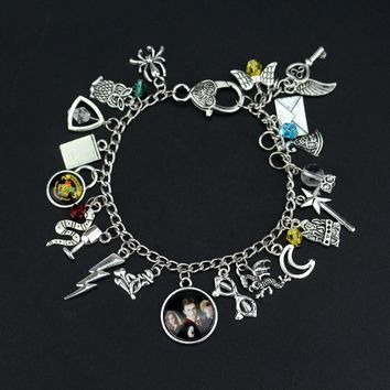 Alice in Wonderland Owl Charm Bracelets & Bangles Snake Dragon Gryffindor Slytherin Bracelet for Women Girls Best Birthday Gift