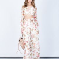 Floral Crop Top and Pants Set