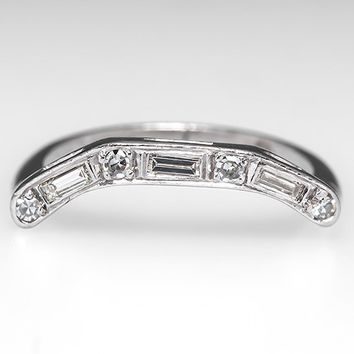 Vintage Diamond Curved Wedding Band Ring Guard Platinum
