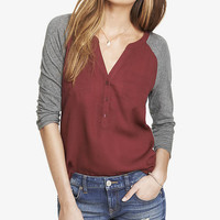MIXED MEDIA RAGLAN SLEEVE POCKET TEE from EXPRESS