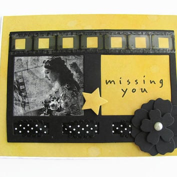 Missing You Card, Vintage Card, Movie Card, Thinking of You Card