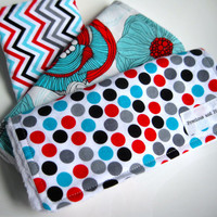 Baby Girl Burp Cloth Set (3) Chevron, Flowers, Polka Dots, Red, Aqua, Black - White Dimple Dot Minky