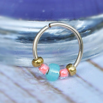Nose Ring, Gold Filled Nose Hoop, Turquoise 24,22,20 Gauge Piercing Body Jewellery