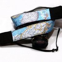 World Map Camera Strap, Canada, Australia, dSLR Camera Strap, SLR, Camera Shoulder, Neck Strap, Women Accessories