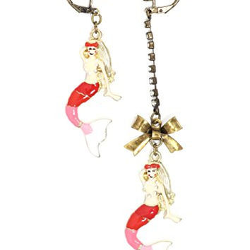 Red Mermaid Dangle Earrings Gold Tone Crystal Chandelier Drop EH09 Fashion Jewelry