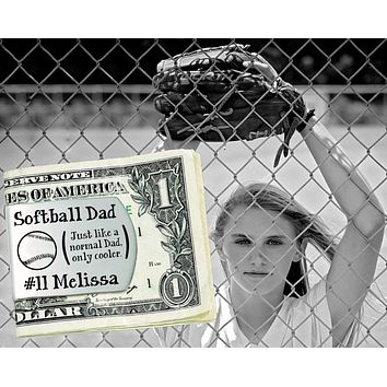 Softball Dad Personalized Money Clip | Gift for Dad
