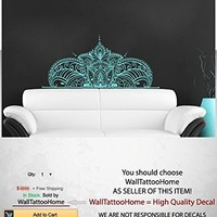 Headboard Wall Decals Art Half Mandala Sticker Boho Bohemian Vinyl Decor Yoga Namaste Decal for Bedroom Home Decor Room Ms783 (16 x 35)
