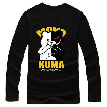 Danganronpa Cute Monokuma Printed Long Sleeve T-Shirt Cosplay Costume Dangan Ronpa Daily Casual Tee Shirts