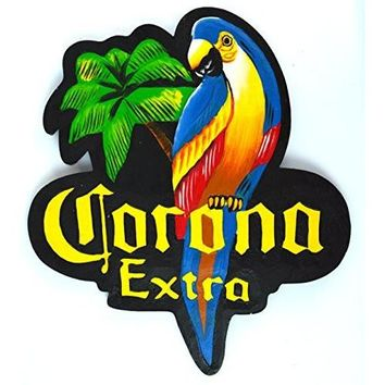Hand Carved CORONA EXTRA PARROT Beer Wooden Wall Hanging Art Sign Tiki Bar