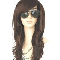 MelodySusie® High Quality New Women's Dark Brown Long Full Curly Wavy Glamour Hair Wig Fashion + MelodySusie® Wig Cap + MelodySusie® Wig Comb