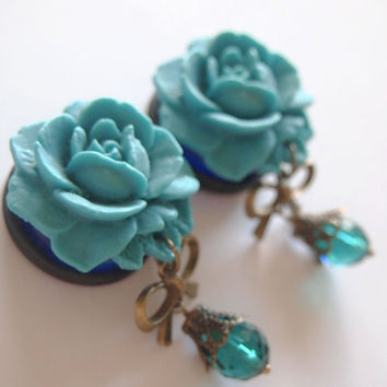 1 inch 25mm Teal Blossom Acrylic Dangly Plugs for by Glamsquared