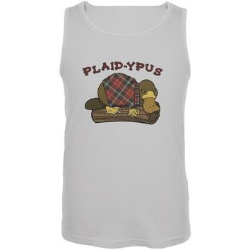 CREYCY8 Funny Platypus Plaid-ypus White Adult Tank Top