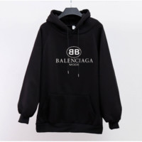 Balenciaga Women Casual Loose Fashion Velvet Multicolor Long Sleeve Pullover Hooded Sweater Tops