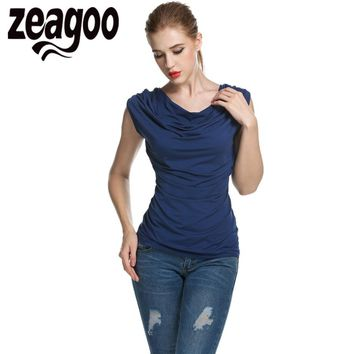 Zeagoo Tank Tops Women Casual T-shirt Cowl Neck Sleeveless Ruched Slim Fit Summer Solid T shirt Fashion Ladies T-shirt