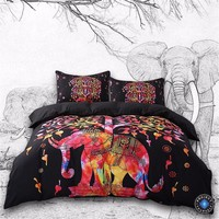 Psychedelic Boho Elephant Tree of Life Printed Black Bedding Set