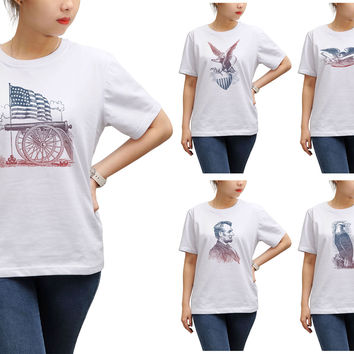 Women Vintage USA Symbols Printed Round Neck Short Sleeves T- Shirt WTS_17