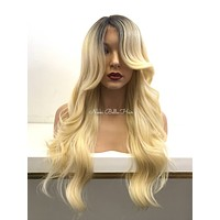 Ombre Blond Human Hair Blend Deep Real Hair Part Full Wig -  Carrie