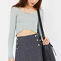 Cooperative Scalloped Button-Front Skirt- Blue Multi